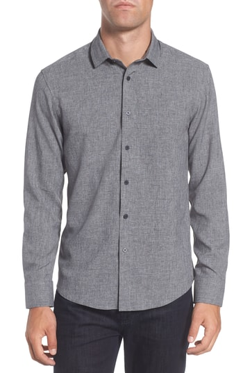 Men's Vince Camuto Trim Fit Performance Knit Sport Shirt, Size X-Small - Grey