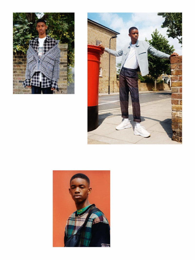 From top left: A KIND OF GUISE jacket £515 and trousers £165, SOLID HOMME shirt £325, PALM ANGELS T-shirt £200, STEPHEN WEBSTER x THAMES chain necklace £600 and pendant necklace £940; SOLID HOMME jacket £810, PAL ZILERI T-shirt £190, STEPHAN SCHNEIDER trousers £175, STEPHEN WEBSTER x THAMES chain necklace £600 and pendant necklace £940, NIKE socks £12.95, ACNE STUDIOS sneakers £390; VIVIENNE WESTWOOD sweater £410, PALM ANGELS T-shirt £200, STELLA McCARTNEY bag £330, STEPHEN WEBSTER x THAMES chain necklace £600 and pendant necklace £940