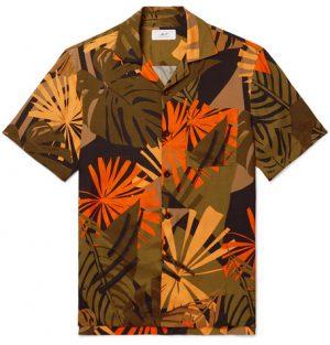 Mr P. - Camp-Collar Printed Woven Shirt - Army green