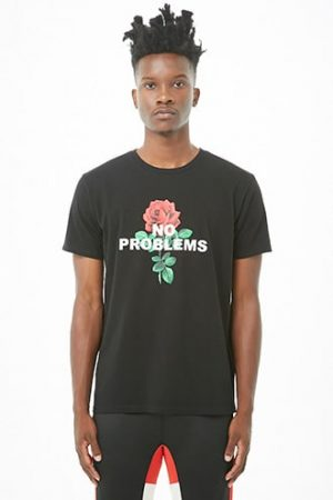 No Problems Floral Graphic Tee by 21 MEN Black/white