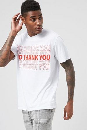 No Thank You Graphic Tee by 21 MEN White/red