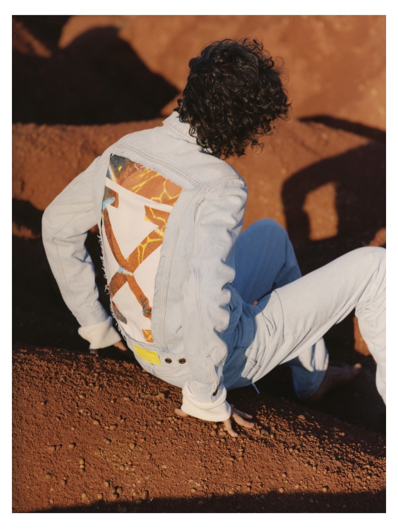 Ivan Ruberto photographs Diogo Guerreiro for Off-White's resort 2019 denim campaign.