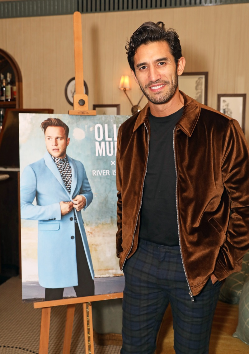 Kirk Newmann sports a velvet Harrington jacket from Olly Murs' River Island collection.