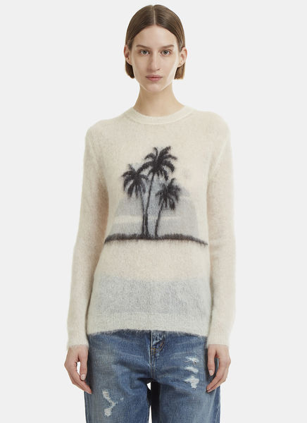 Palm Tree Mohair Blend Knit Sweater