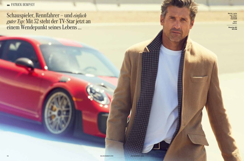 Actor Patrick Dempsey dons a coat, jacket, and t-shirt by Brunello Cucinelli. He also sports A.P.C. jeans.