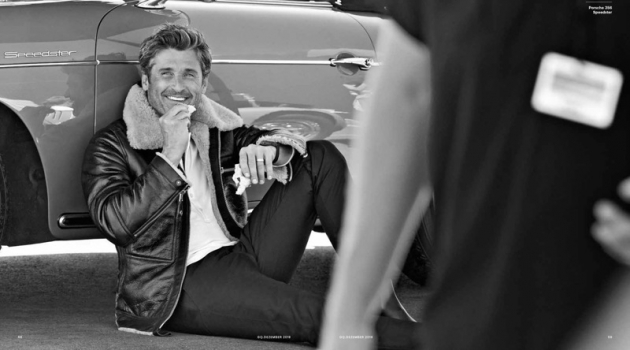 Connecting with GQ Germany, Patrick Dempsey wears a leather jacket, henley, and pants by Tom Ford. Church's boots complete Dempsey's look.