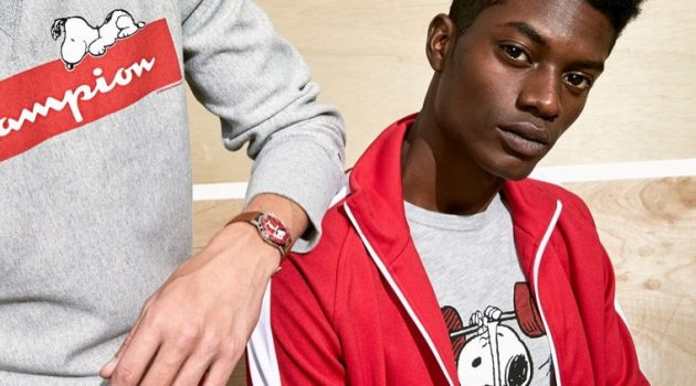Todd Snyder collaborates with Peanuts, Champion, and Timex for a new collection.