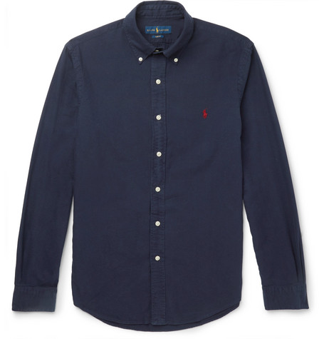 50e6e6c6b2c Polo Ralph Lauren – Slim-Fit Button-Down Collar Garment-Dyed Cotton Oxford  Shirt – Navy