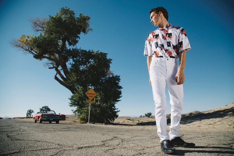 Embracing white fashions, Brandon Sharp wears Primark.