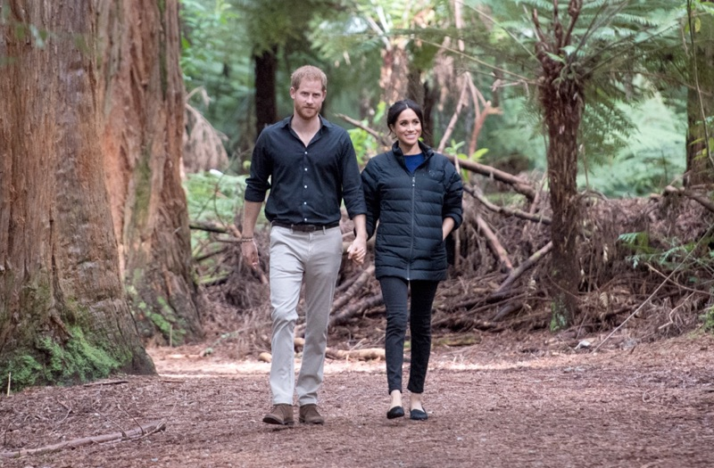 Prince Harry, Duke of Sussex and Meghan, Duchess of Sussex visit Redwoods Tree Walk on October 31, 2018 in Rotorua, New Zealand. The Duke of Sussex embraces smart style in a pair of slim-fit chinos from 7 For All Mankind.