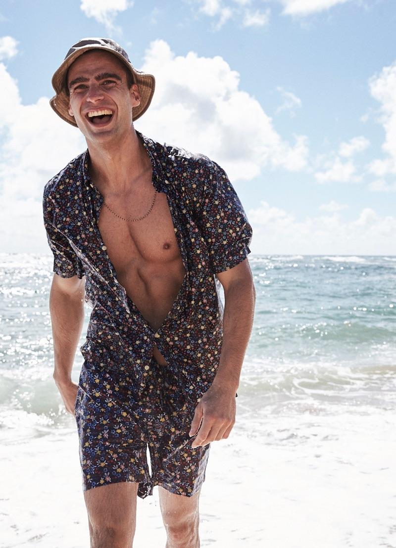 Enjoying the Hawaiian sun, George Alsford stars in Reyn Spooner's spring-summer 2019 lookbook.
