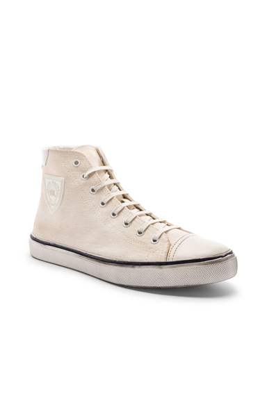 Saint Laurent Bedford Patch Sneaker in Neutral. - size 43 (also in 41,42,44,45)