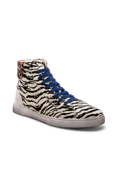 Saint Laurent Calf Hair Joe Chess Hi-Top Sneakers in White,Animal Print. - size 45 (also in 41,42,43,44)