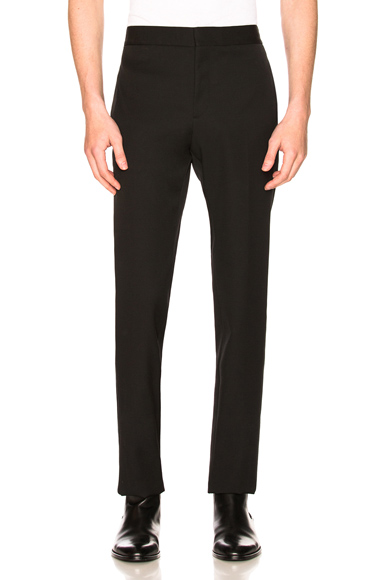 Saint Laurent Flat Front Trousers in Black. - size 52 (also in 46,48,50)