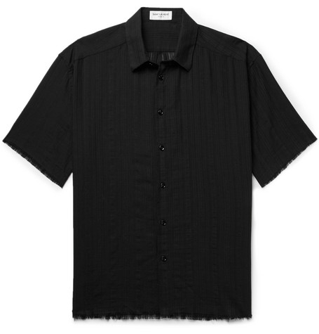 Saint Laurent - Frayed Cotton-Gauze Shirt - Black