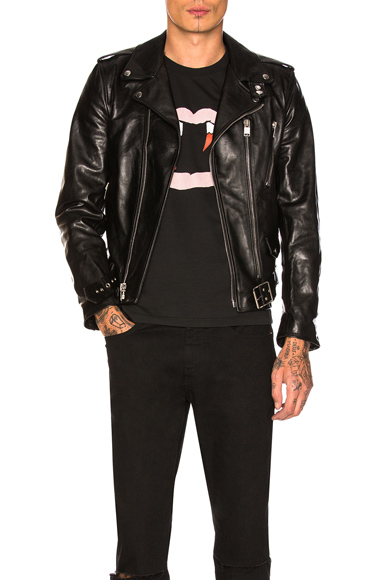 Saint Laurent Leather Jacket in Black. - size 52 (also in 48,50)