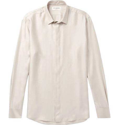Saint Laurent - Modal, Silk and Cashmere-Blend Shirt - Cream