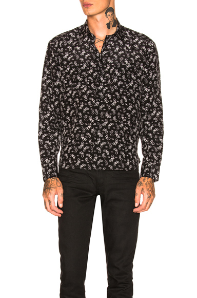 Saint Laurent Motorbikes Shirt in Abstract,Black,White. - size 38 (also in 39,40,41)