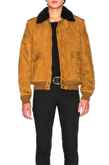 Saint Laurent Shearling Flight Jacket in Black,Neutral. - size 50 (also in 48)