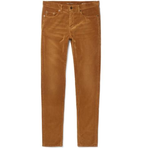Saint Laurent - Skinny-Fit Cotton-Corduroy Trousers - Camel