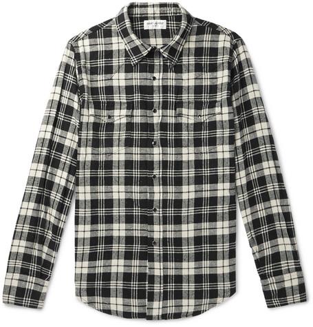 Saint Laurent - Slim-Fit Checked Cotton-Flannel Shirt - Black