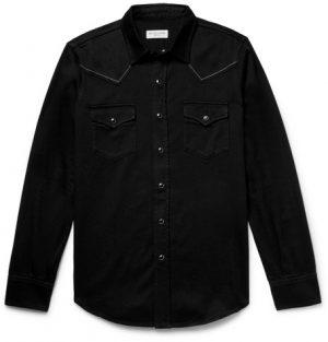 Saint Laurent - Slim-Fit Embroidered Cotton-Twill Western Shirt - Black
