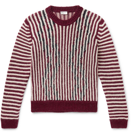 Saint Laurent - Slim-Fit Striped Wool-Blend Sweater - Red