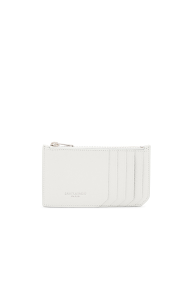 Saint Laurent Zipped Fragments Credit Card Case in White.