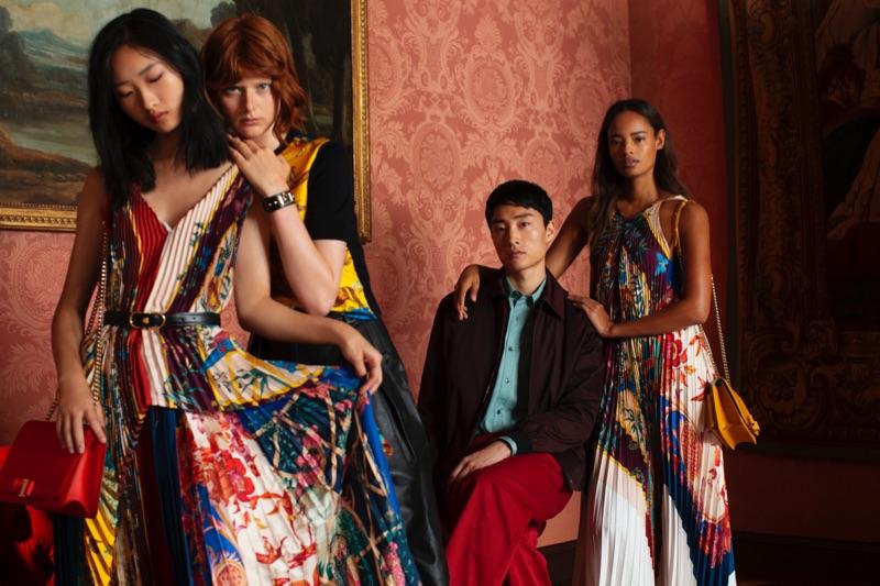 Chuyan He, Fabienne Dobbe, Ryu Wankyu, and Malaika Firth star in Salvatore Ferragamo's holiday 2018 campaign.