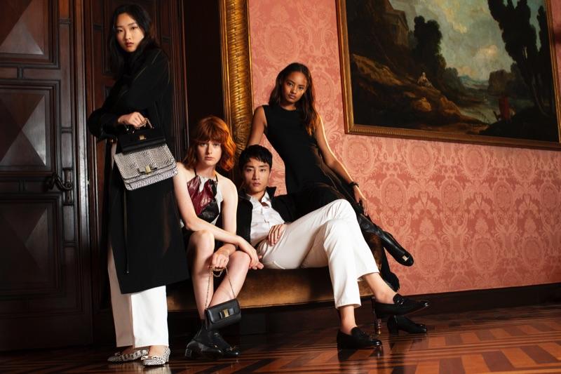 Models Chuyan He, Fabienne Dobbe, Ryu Wankyu, and Malaika Firth appear in Salvatore Ferragamo's holiday 2018 campaign.