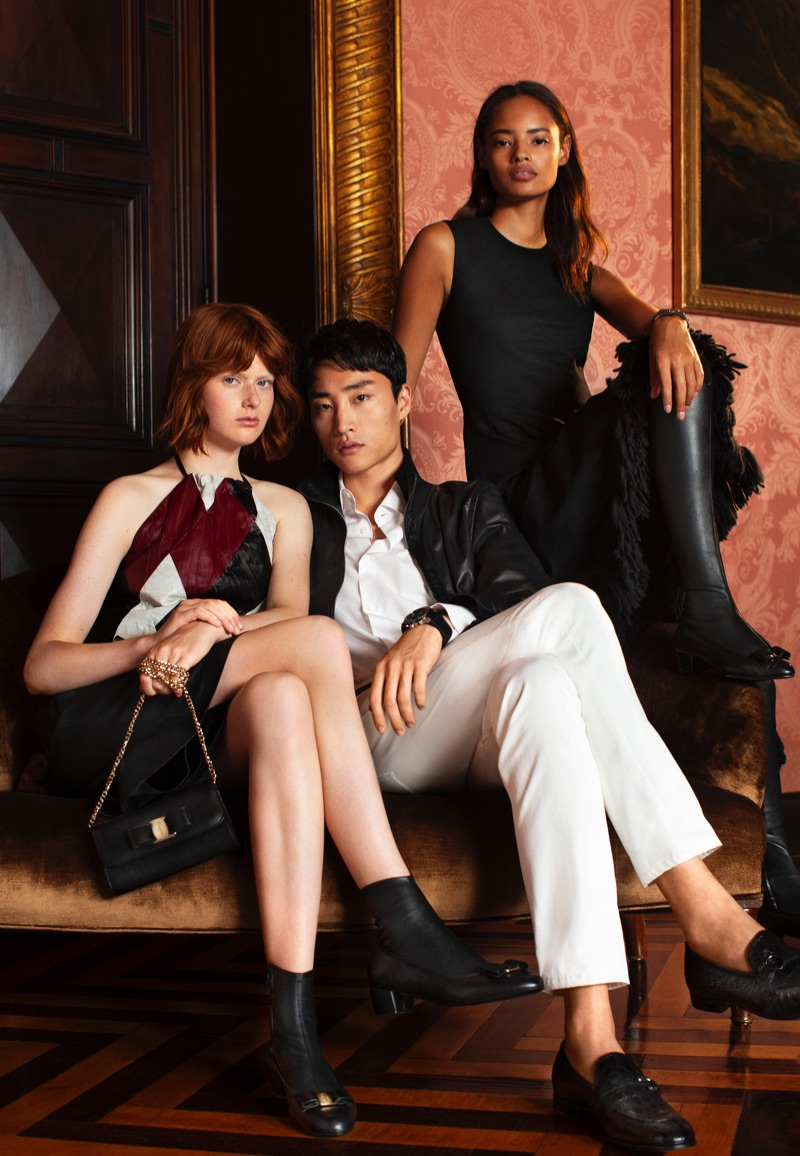 Salvatore Ferragamo enlists models Fabienne Dobbe, Ryu Wankyu, and Malaika Firth as the stars of its holiday 2018 campaign.