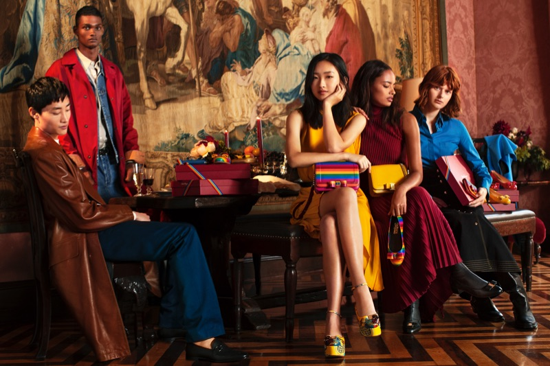 Ryu Wankyu, Tevin Steele, Chuyan He, Fabienne Dobbe, and Malaika Firth front Salvatore Ferragamo's holiday 2018 campaign.