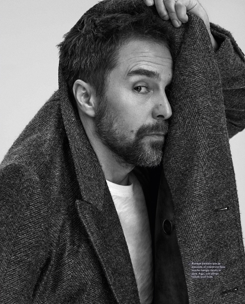 Ready for his close-up, Sam Rockwell dons a Louis Vuitton coat.