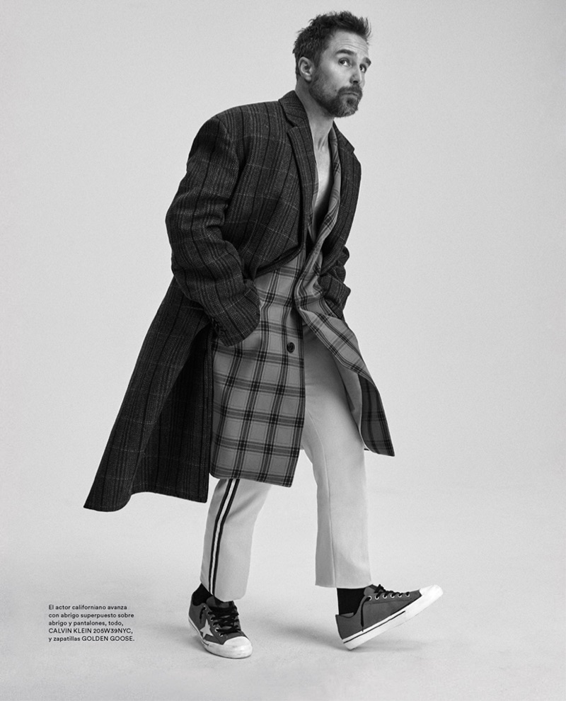 Mixing prints, Sam Rockwell wears a Calvin Klein look with Golden Goose shoes.