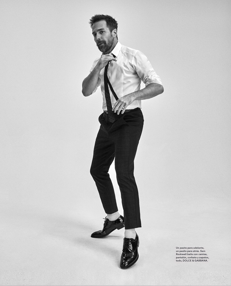 Playing it smart, Sam Rockwell wears Dolce & Gabbana.