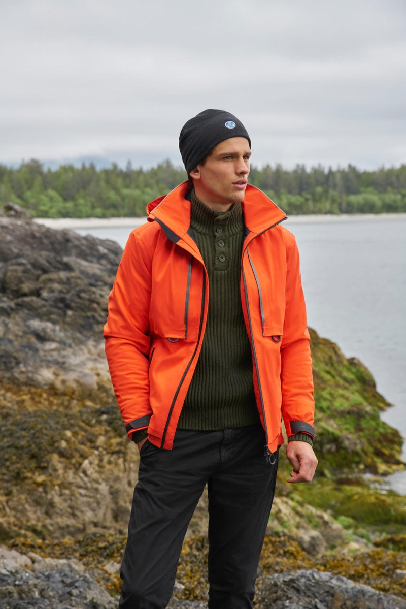Tapping into a rugged streak, Simon Nessman fronts North Sails' fall-winter 2018 campaign.