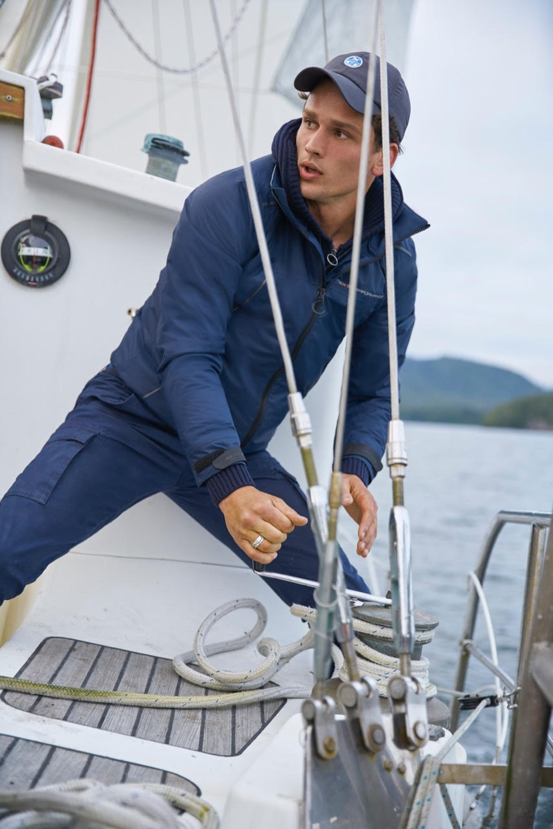 Enjoying a nautical moment, Simon Nessman stars in North Sails' fall-winter 2018 campaign.