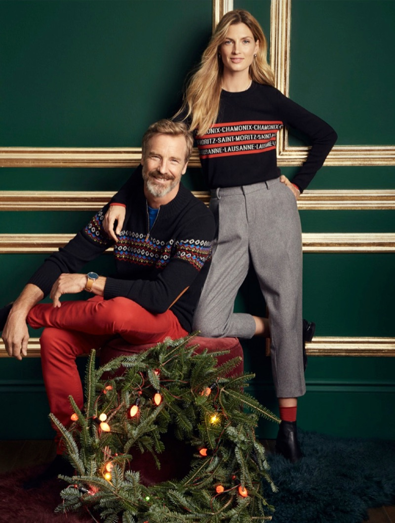 Rainer Andreesen dons a LE 31 jacquard mock-neck sweater and red colored jeans.