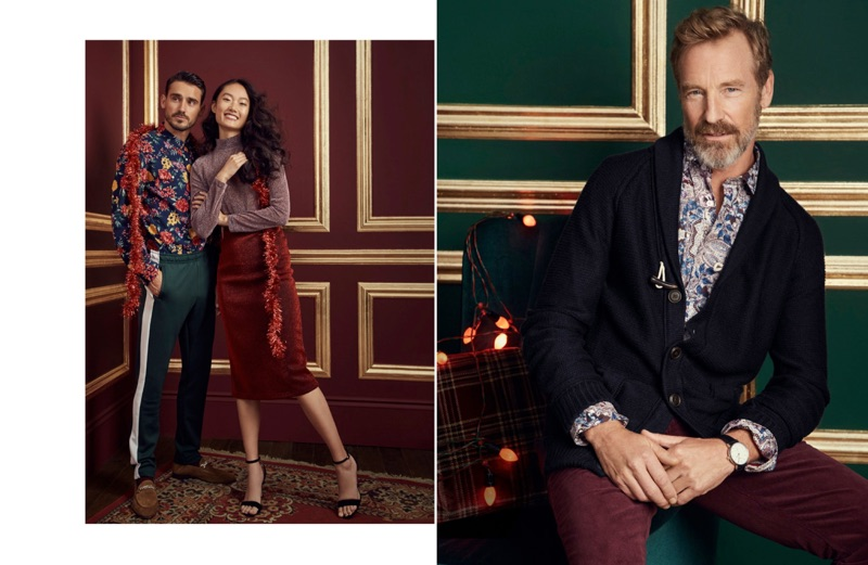 Left: Arthur Kulkov dons a LE 31 floral western shirt with retro track pants. Right: Rainer Andreesen sports a LE 31 suede-elbow shawl-collar cardigan, floral paisley shirt, and corduroy pants.