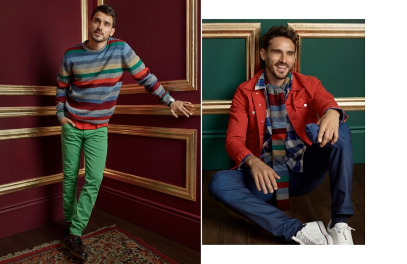 Left: Arthur Kulkov wears a mixed-stripe lambswool sweater and colored jeans by LE 31 with Dr Martens loafers. Right: All smiles, Arthur sports a LE 31 red jean jacket, striped scarf, check overshirt, and royal blue jeans with Converse sneakers.
