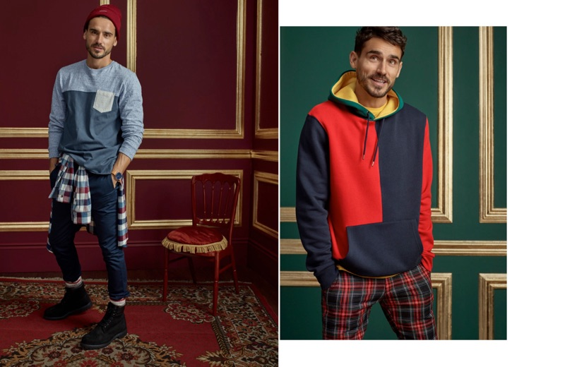 Left: Model Arthur Kulkov rocks a LE 31 pocket t-shirt, flannel shirt, and joggers with Timberland boots. Right: Embracing color, Arthur Kulkov wears a LE 31 color-block hoodie and tartan pants.