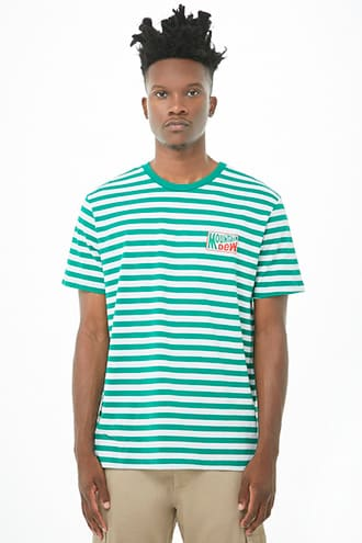 Striped Mountain Dew Graphic Tee by 21 MEN Green/white