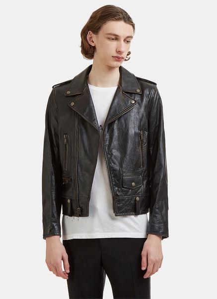 Studded Lightening Bolt Classic Leather Jacket