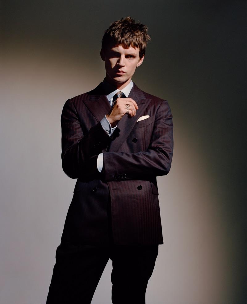 Theo Neilson wears a Lardini suit, Ingram shirt, and Gabriele Pasini tie.