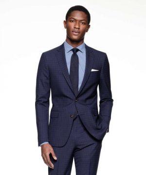 Sutton Suit Jacket in Italian Navy Windowpane Tropical Wool