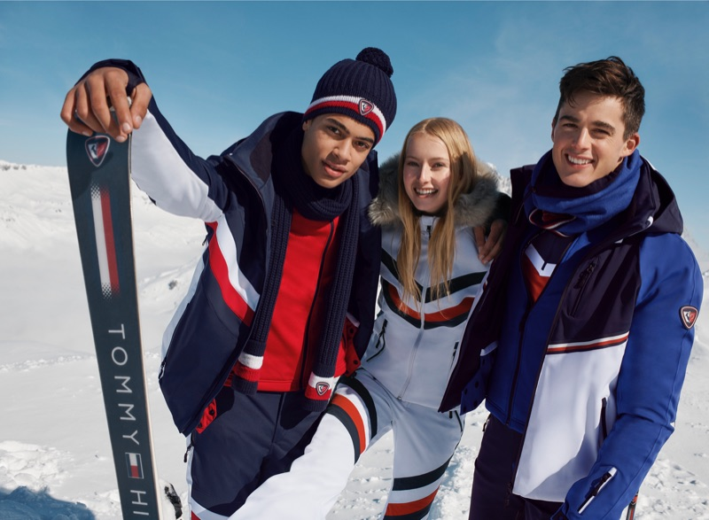 Désiré Mia, Natalie Ludwig, and Pietro Boselli star in the Tommy x Rossignol collection campaign.