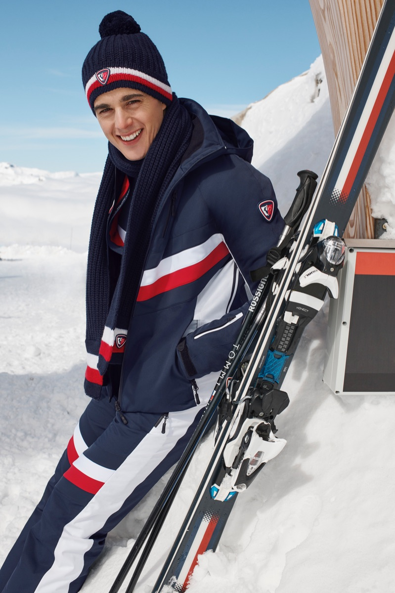 All smiles, Pietro Boselli fronts the Tommy x Rossignol collection campaign.