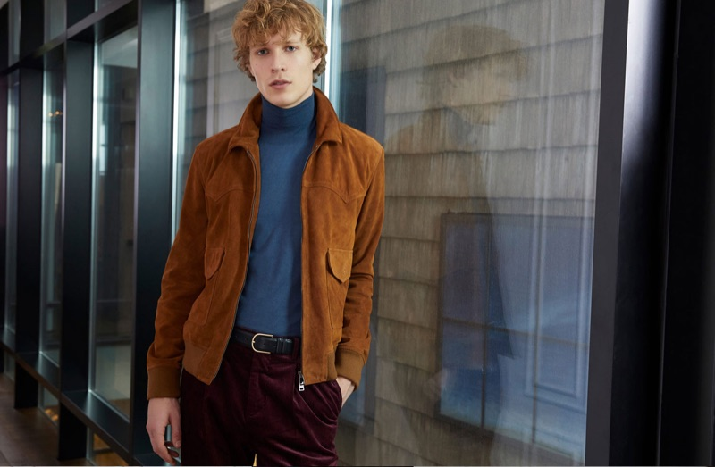 Sven de Vries dons a suede jacket and turtleneck for Valstar's fall-winter 2018 campaign.
