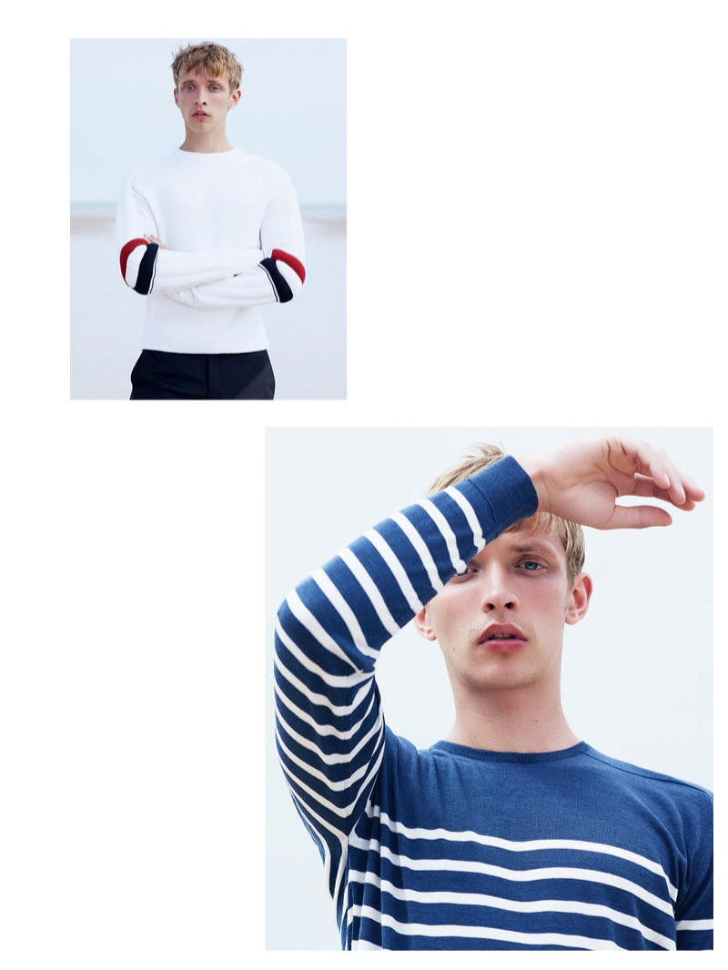 From Top: THOM BROWNE sweater £470, LORO PIANA trousers £600; JOHN SMEDLEY sweater £160