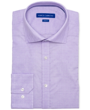 Vince Camuto Men's Slim-Fit Comfort Stretch Amethyst Geo Dobby Dress Shirt